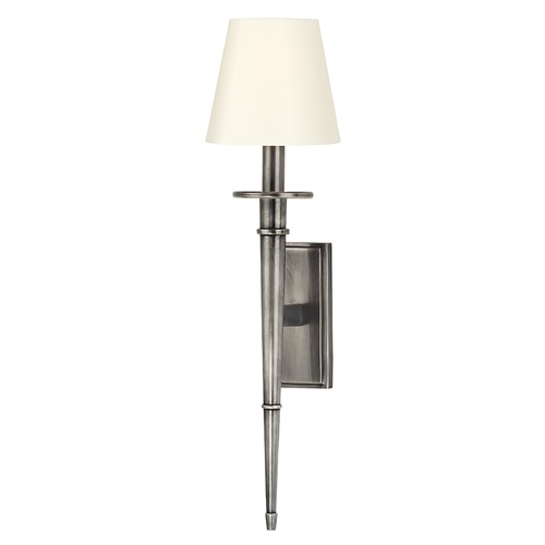 Hudson Valley Lighting Sconce Wall Light with White Shade in Aged Silver Finish 220-AS-WS
