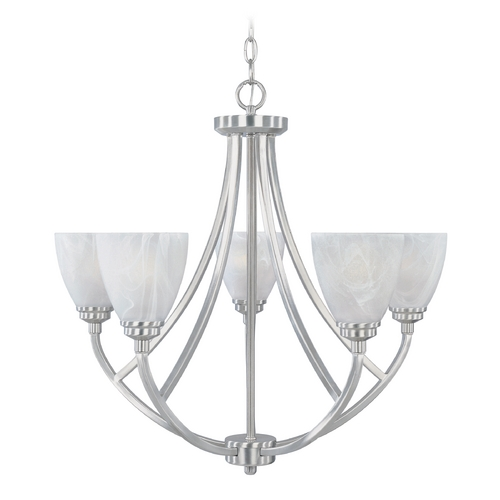 Designers Fountain Lighting Chandelier with Alabaster Glass in Satin Platinum Finish 82985-SP