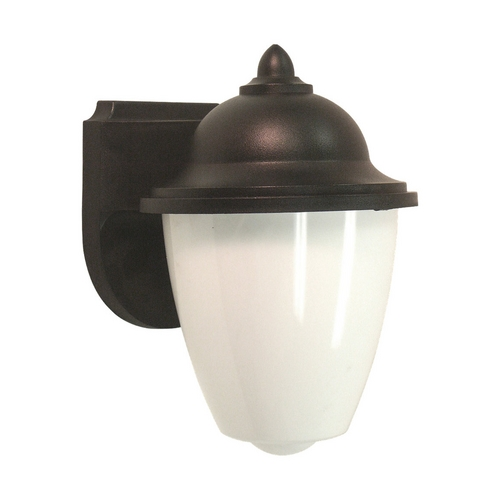 Sea Gull Lighting Outdoor Wall Light with White Glass in Black Finish 88018-12
