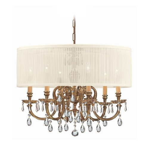 Crystorama Lighting Crystal Chandelier with White Shade in Olde Brass Finish 2916-OB-SAW-CLS