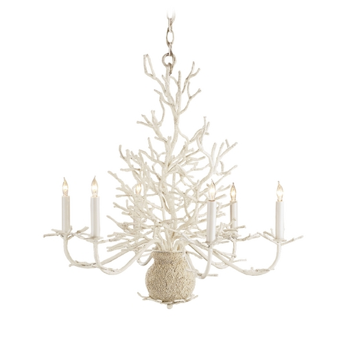 Currey and Company Lighting Chandelier in White Coral/natural Sand Finish 9218