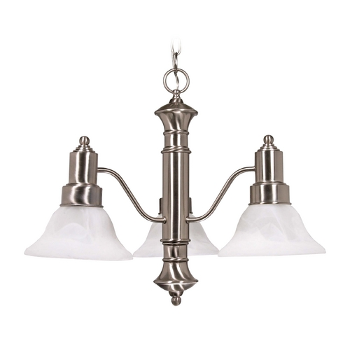 Nuvo Lighting Chandelier with Alabaster Glass in Brushed Nickel Finish 60/190