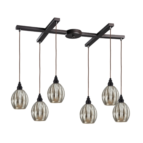 Elk Lighting Multi-Light Pendant Light with Mercury Glass and 6-Lights 46007/6