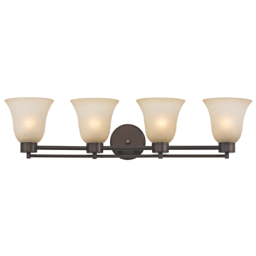 Design Classics Lighting Modern Bathroom Light with Brown Art Glass - Four Lights 704-220 GL9222-CAR