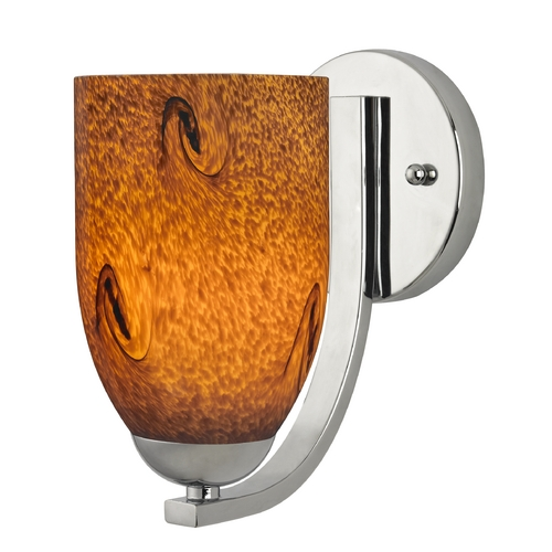 Design Classics Lighting Sconce with Brown Art Glass in Chrome Finish 585-26 GL1001D