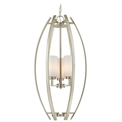 Design Classics Lighting Design Classics Serenity Satin Nickel Pendant Light with Cylindrical Shade 1692-09