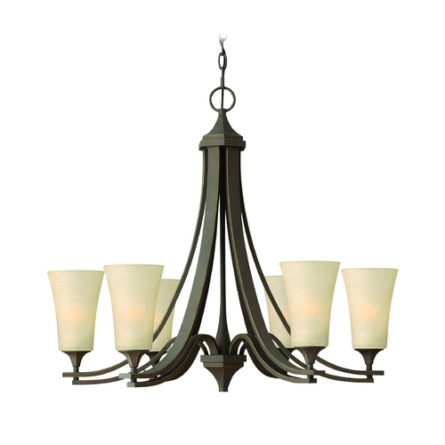 Hinkley Lighting Chandelier with Amber Glass in Oil Rubbed Bronze Finish 4636OZ
