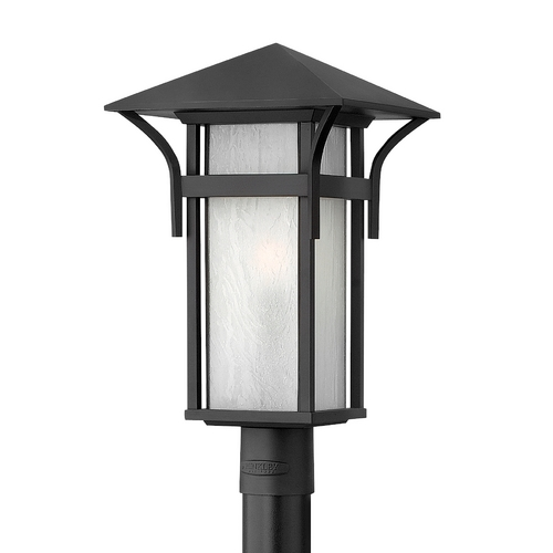 Hinkley Lighting Post Light with White Glass in Satin Black Finish 2571SK