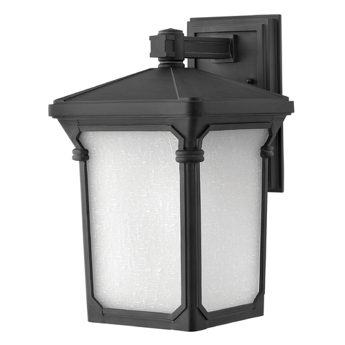 Hinkley Lighting Outdoor Wall Light with White Glass in Museum Black Finish 1354MB-GU24