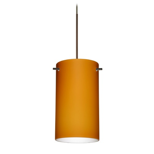 Besa Lighting Besa Lighting Stilo 7 Bronze Mini-Pendant Light with Cylindrical Shade 1XT-440480-BR