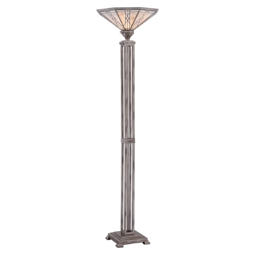 Quoizel Lighting Quoizel Cyrus Anniversary Silver Torchiere Lamp with Hexagon Shade MCCS9470AS