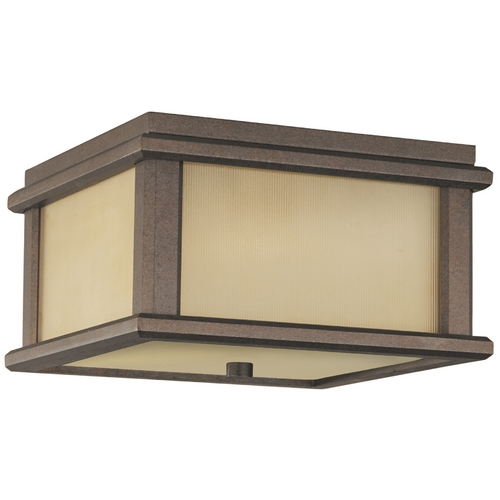 Feiss Lighting Close To Ceiling Light with Amber Glass in Corinthian Bronze Finish OL3413CB