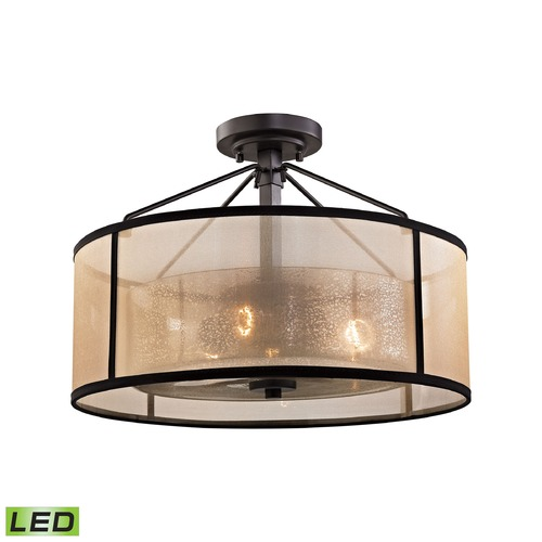 Elk Lighting Mercury Glass LED Semi-Flushmount Light Oil Rubbed Bronze Elk Lighting 57024/3-LED