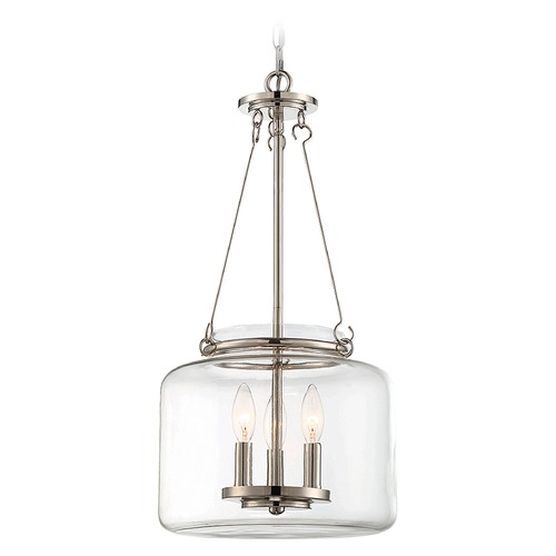 Savoy House Savoy House Lighting Akron Polished Nickel Pendant Light with Drum Shade 7-9006-3-109