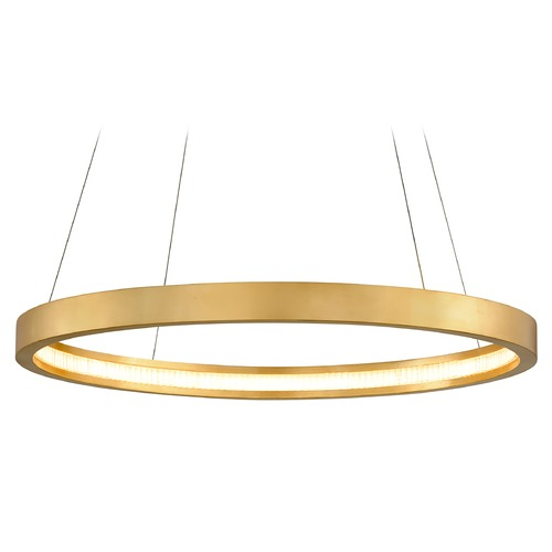 Corbett Lighting Corbett Lighting Jasmine Gold Leaf LED Pendant Light with 36-Inch Drum Shade 284-42