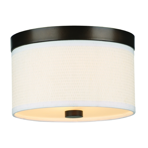 Philips Lighting Modern Flushmount Light with White Shade in Sorrel Bronze Finish F615220