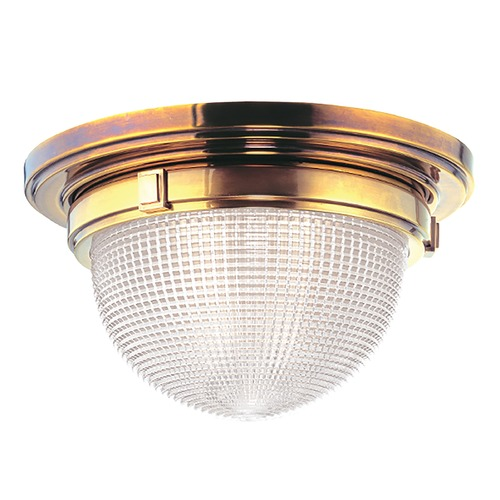 Hudson Valley Lighting Flushmount Light with Clear Glass in Aged Brass Finish 4412-AGB