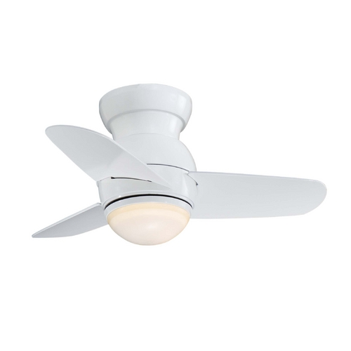 Minka Aire Fans Modern Ceiling Fan with Light with White Glass F510-WH