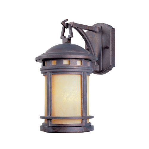Designers Fountain Lighting Outdoor Wall Light with Amber Glass in Mediterranean Patina Finish 2370-AM-MP