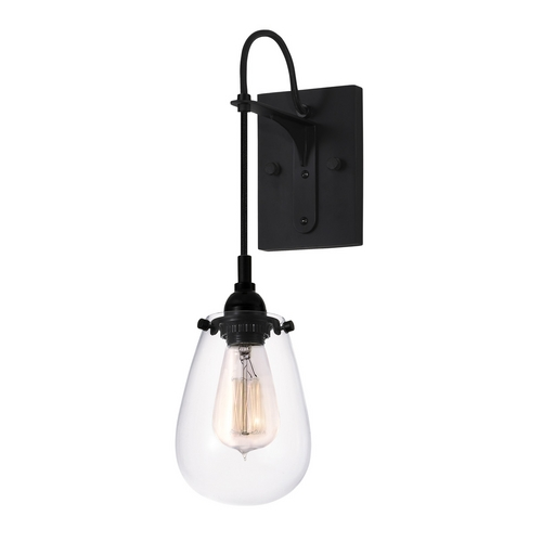 Sonneman Lighting Modern Sconce Wall Light with Clear Glass in Satin Black Finish 4290.25