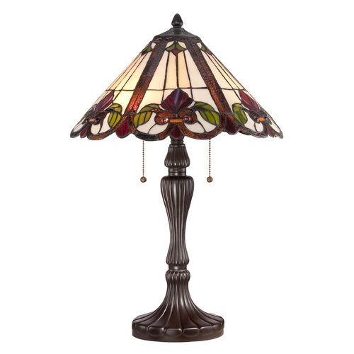 Quoizel Lighting Table Lamp with Multi-Color Glass in Western Bronze Finish TF1425TWT