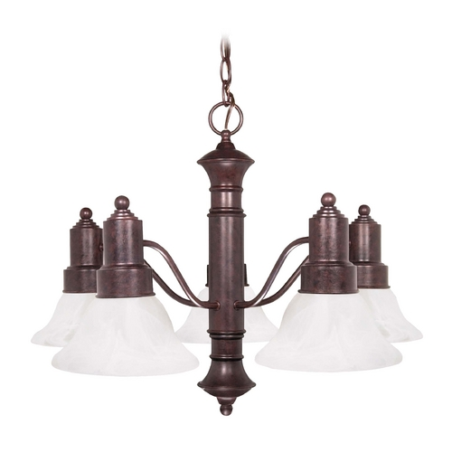 Nuvo Lighting Chandelier with Alabaster Glass in Old Bronze Finish 60/191