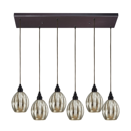 Elk Lighting Multi-Light Pendant Light with Mercury Glass and 6-Lights 46007/6RC