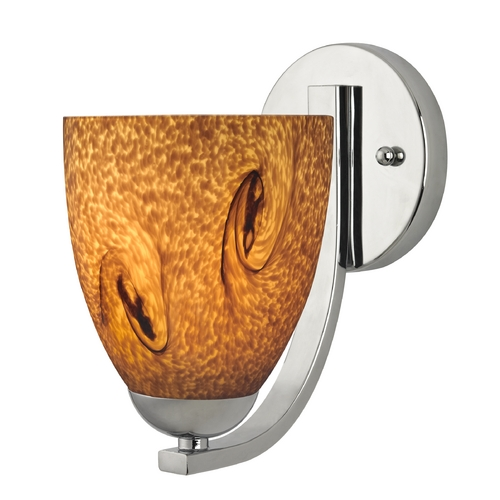 Design Classics Lighting Sconce with Brown Art Glass in Chrome Finish 585-26 GL1001MB