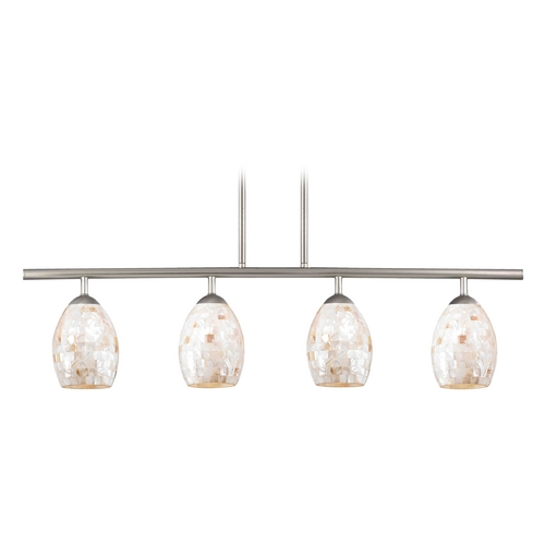 Design Classics Lighting Island Light with Beige / Cream Glass in Satin Nickel Finish 718-09 GL1034