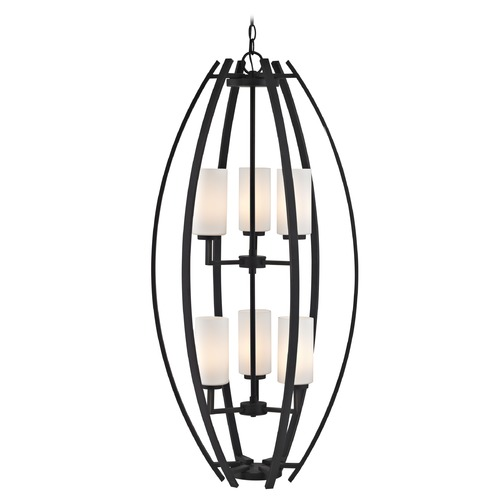 Design Classics Lighting 6-Light Cage Pendant Light with Two Tiers in Bronze 1693-78
