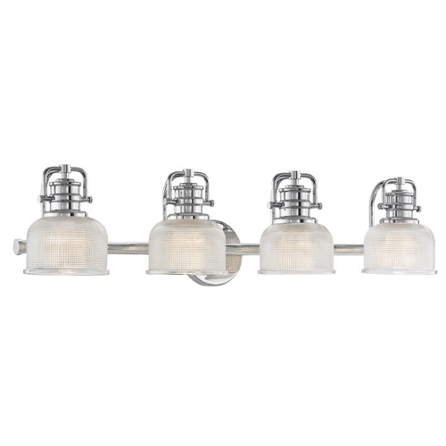 Design Classics Lighting Prismatic Glass 4-Light Bathroom Light in Chrome Finish JJ 1794-26/FC