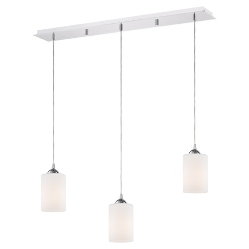 Design Classics Lighting 36-Inch Linear Pendant with 3-Lights in Chrome Finish with Satin White Glass 5833-26 GL1028C
