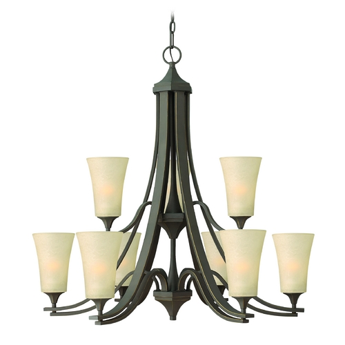 Hinkley Lighting Chandelier with Amber Glass in Oil Rubbed Bronze Finish 4638OZ