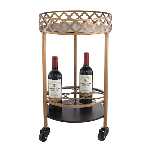 Sterling Lighting Circular Quatrefoil Bar Cart 51-015
