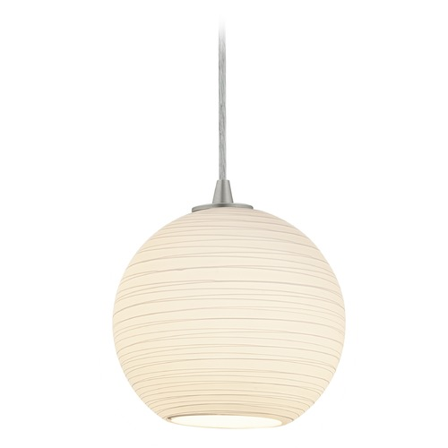 Access Lighting Access Lighting Japanese Lantern Brushed Steel Mini-Pendant Light with Bowl / Dome Shade 28085-3C-BS/WHTLN