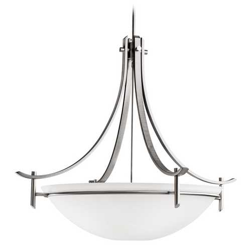 Kichler Lighting Kichler Modern Pendant Light with White Glass in Antique Pewter Finish 3279AP