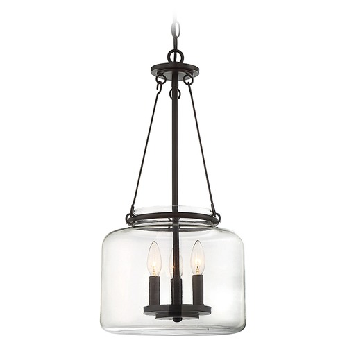 Savoy House Savoy House Lighting Akron English Bronze Pendant Light with Drum Shade 7-9006-3-13