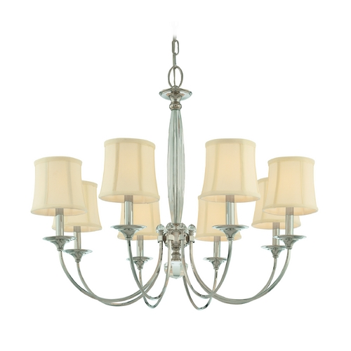 Hudson Valley Lighting Chandelier with White Shades in Polished Nickel Finish 1818-PN