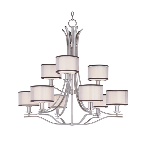 Maxim Lighting Modern Chandelier with White Glass in Satin Nickel Finish 23036SWSN