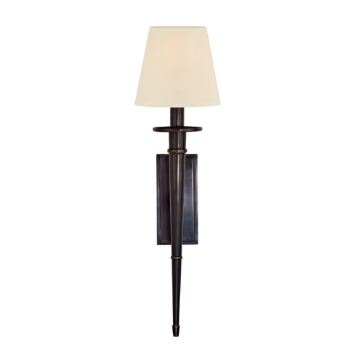 Hudson Valley Lighting Sconce Wall Light with White Shade in Old Bronze Finish 220-OB-WS