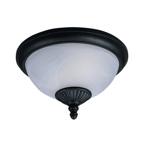 Sea Gull Lighting Close To Ceiling Light with White Glass in Forged Iron Finish 88048-185