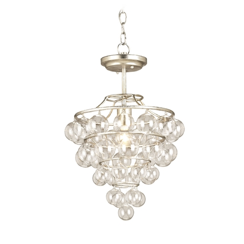 Currey and Company Lighting Modern Pendant Light in Contemporary Silver Leaf Finish 9205