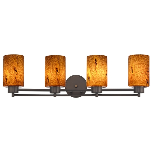 Design Classics Lighting Modern Bathroom Light with Brown Art Glass - Four Lights 704-220 GL1001C