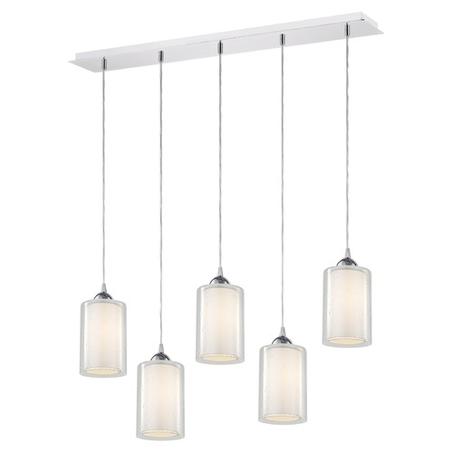 Design Classics Lighting 36-Inch Linear Pendant with 5-Lights in Chrome Finish with Clear Seeded / Frosted White Glass 5835-26 GL1061 GL1041C