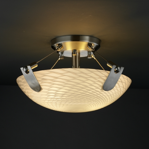 Justice Design Group Justice Design Group Fusion Collection Semi-Flushmount Light FSN-9610-35-WEVE-NCKL