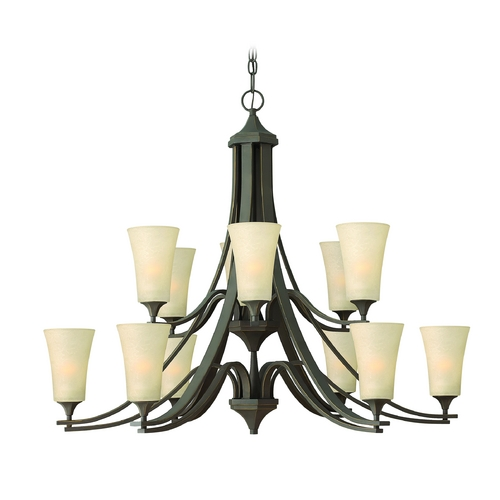 Hinkley Lighting Chandelier with Amber Glass in Oil Rubbed Bronze Finish 4639OZ