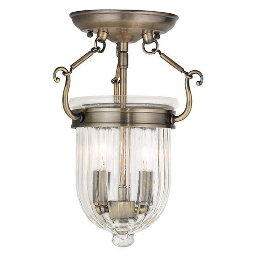Livex Lighting Livex Lighting Coventry Antique Brass Semi-Flushmount Light 50512-01