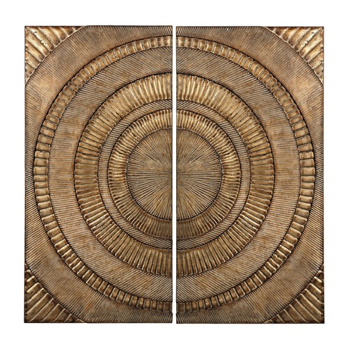 Sterling Lighting Set Of 2 Abstract Metal Wall Panels 138-133/S2