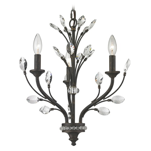 Elk Lighting Elk Lighting Crystal Branches Burnt Bronze Mini-Chandelier 11774/3