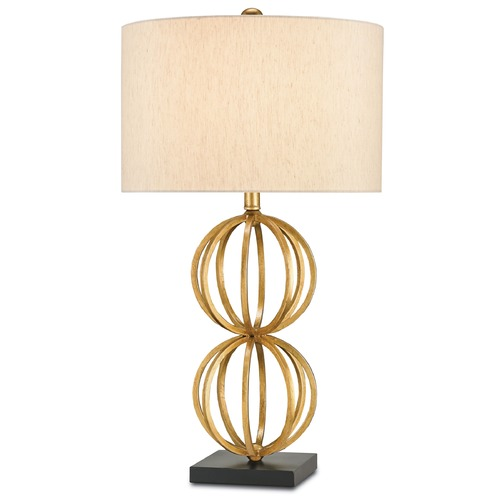 Currey and Company Lighting Currey and Company Ornament Chinois Antique Gold Leaf/black Table Lamp with Drum Shade 6698